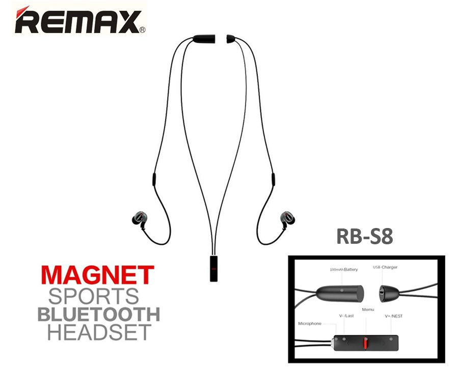 Auriculares Bluethooth Remax Magnet Sport Rb-s8 Originales
