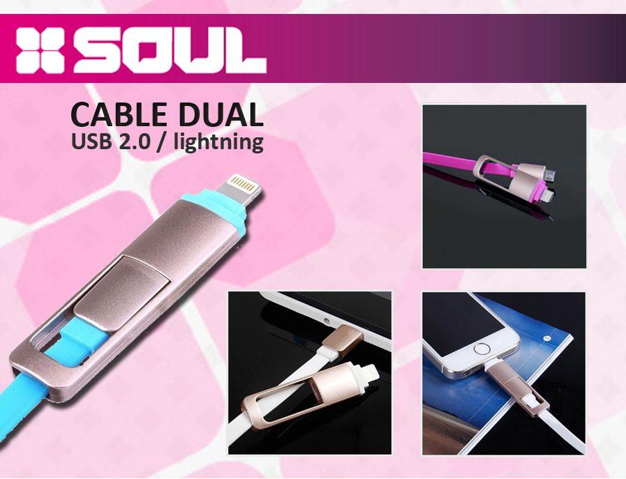 Cable De Datos 2 En 1 Usb 2.0 A Lightning Soul A Micro Usbl
