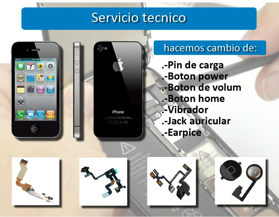 Reparación Flex Iphone 4,4s para botónes Power ,Home,Volumen y Pin de Carga
