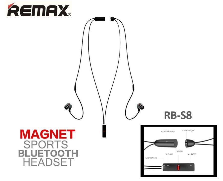 Auriculares Bluethooth Remax Magnet Sport Rb-s8 Originales