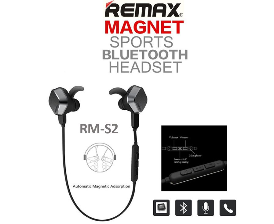 Auriculares Bluethooth Remax Magnet Sport Rm-s2 Originales