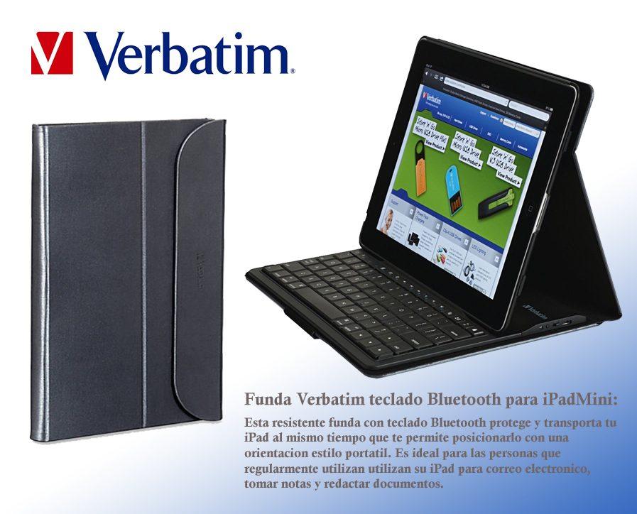 Funda Teclado Bluetooth Verbatim Slim Folio Ipad Mini