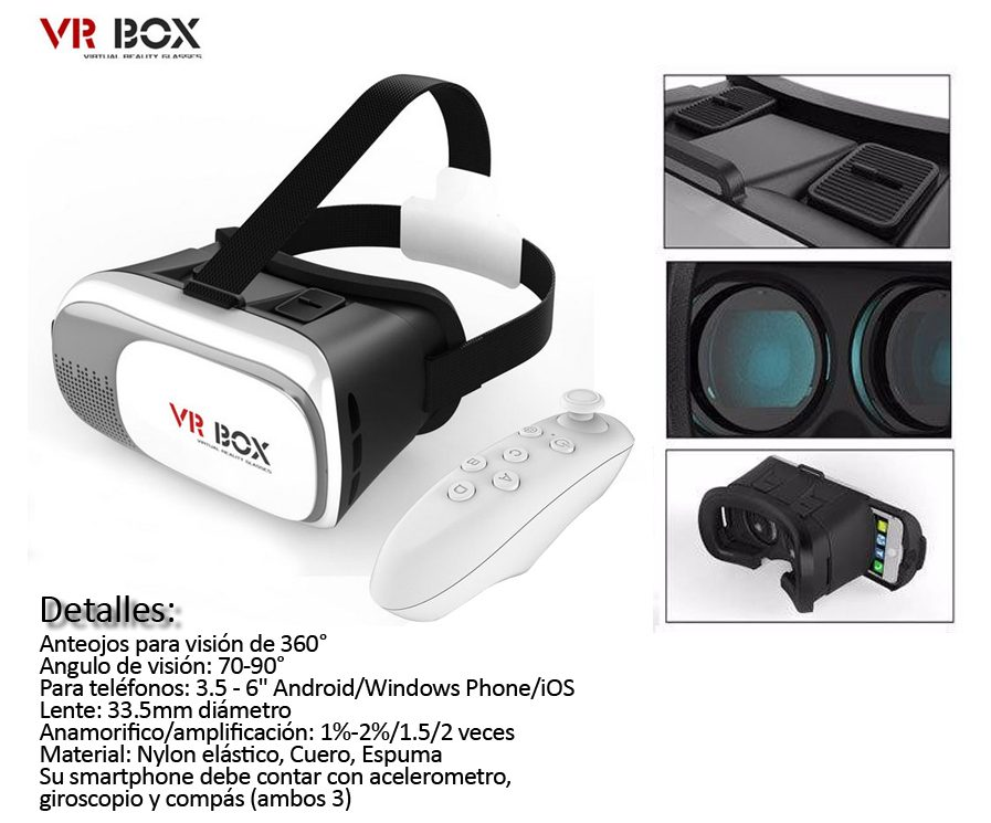 Lentes Realidad Virtual Vr-box 2da Gen 2.0 + Control Bt