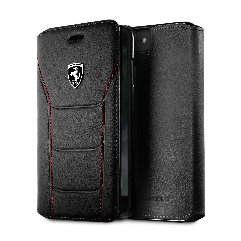 Funda Flip Premium Ferrrari De Cuero Genuino Trama Butaca para Iphone 8,7,6s,6