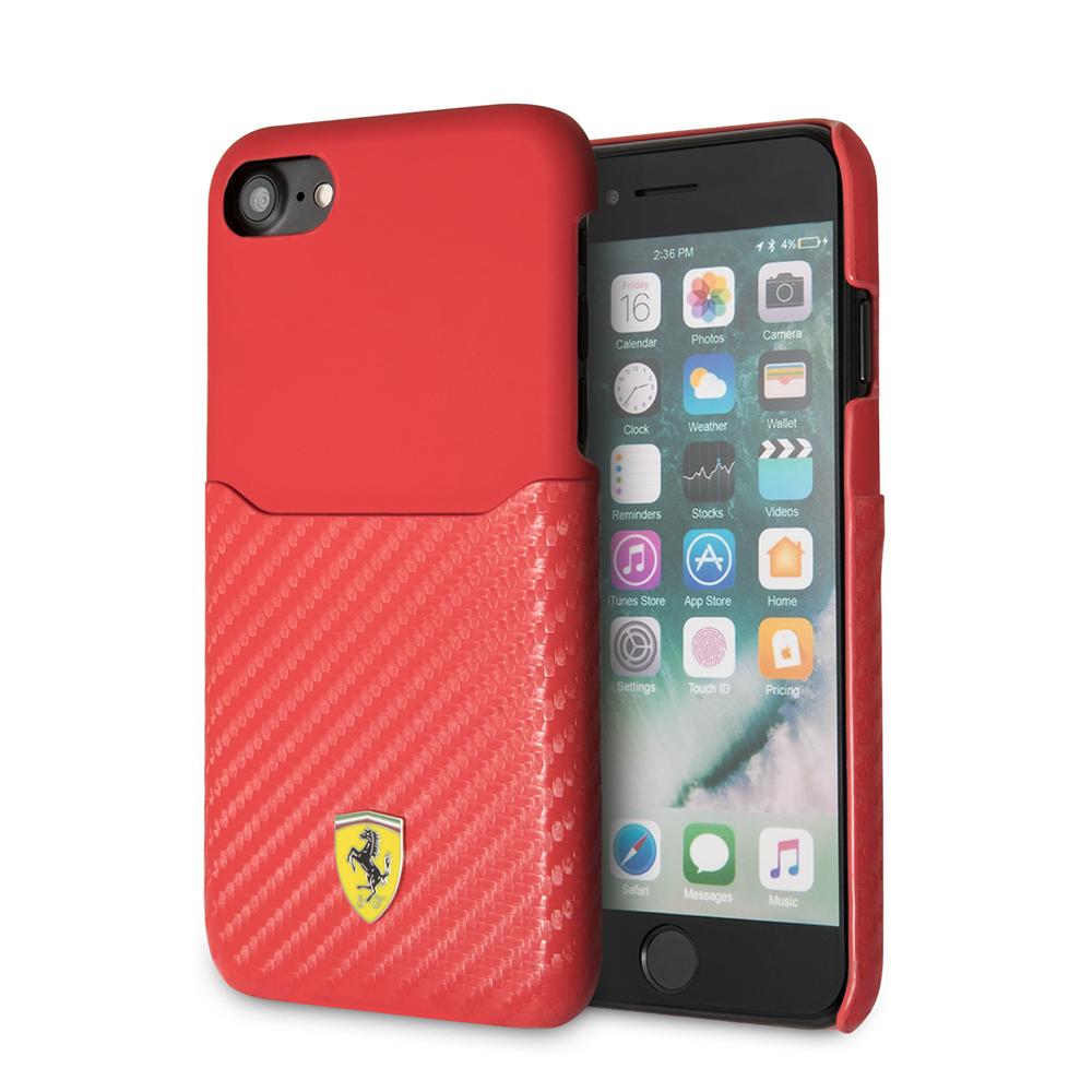 Funda Case Premium Ferrari De Carbono Con Porta Tarjeta para Iphone 8,7,6s,6 Plus