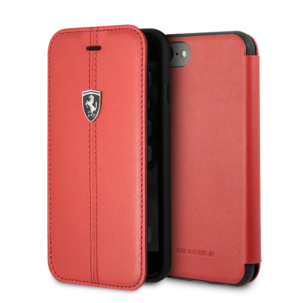 Funda Flip Premium Ferrrari De Cuero Genuino Trama Linea Vertical para Iphone 8,7,6s,6